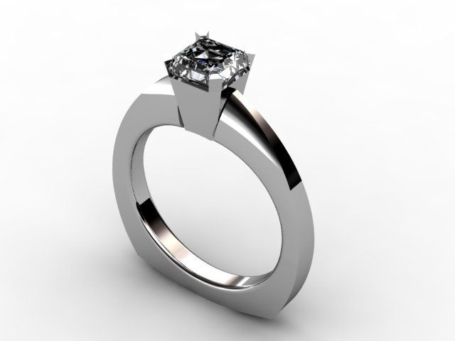 Single assher cut diamond ring