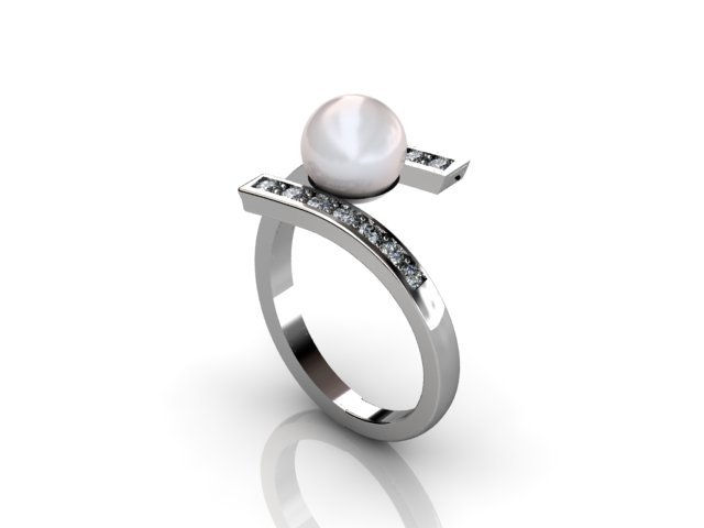 Diamonds and pearl ring