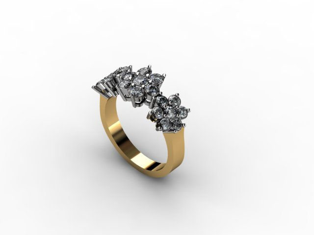 3 flower cluster diamond ring