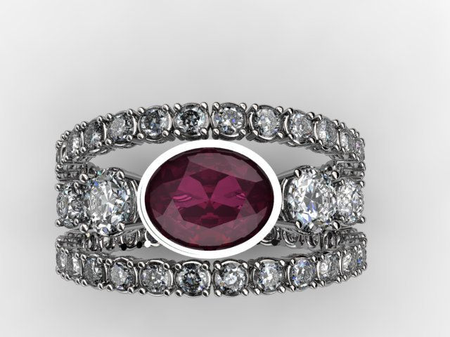 Floating ruby and diamond ring