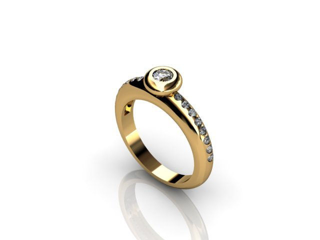 Gold round set diamond ring