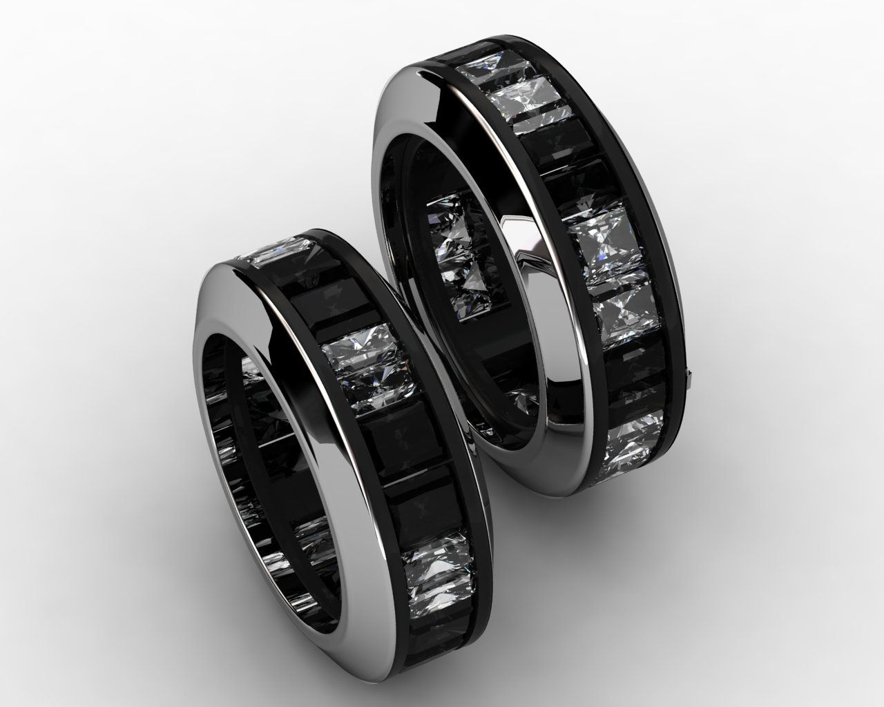 Black and white diamond rings