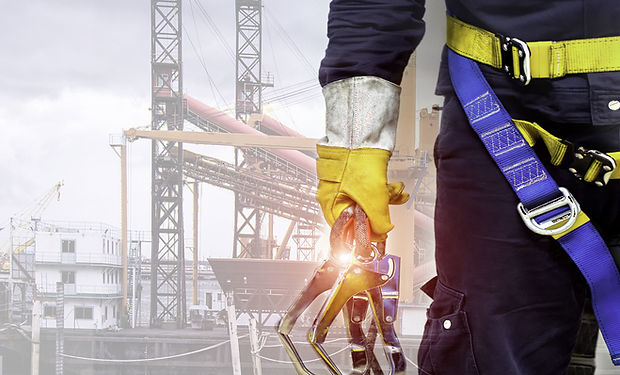 Close-up harnesses and gloves, Working a