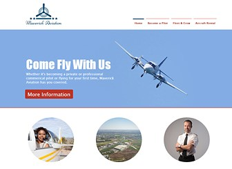 Flight School Template - This first class theme is ready for take-off! Upload photos and customize the text to advertise your services, introduce your instructors, and highlight your courses and certifications. Create a one-of-kind website and watch your business soar.