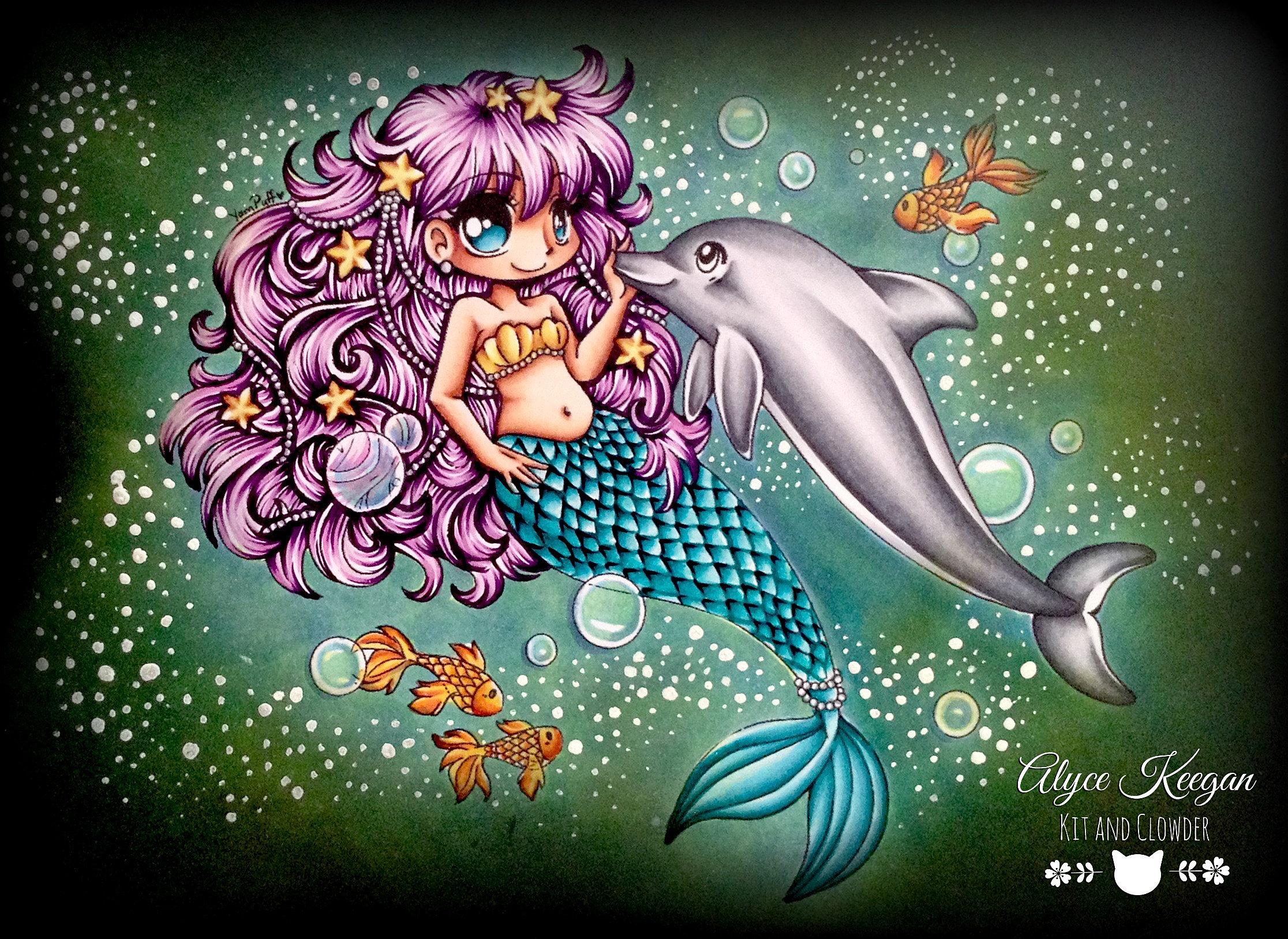 Online coloring mermaid - Coloured