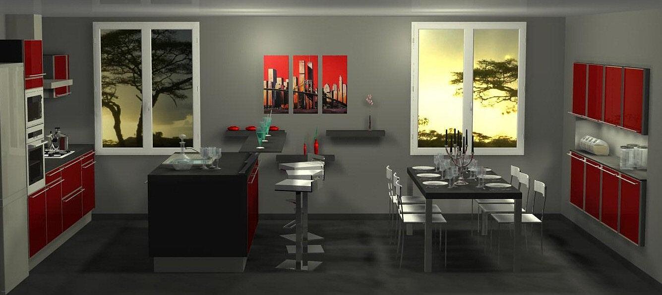 Menuis art cuisine moderne, cuisine design dressing vichy