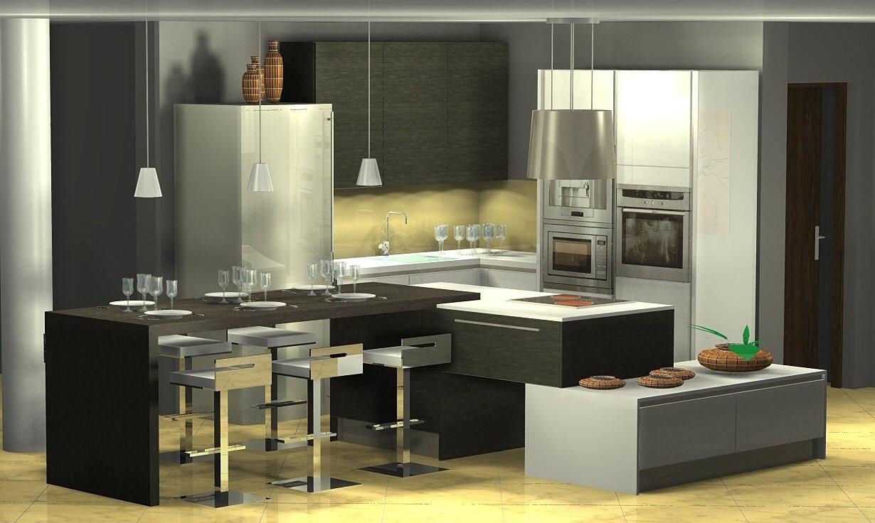 Menuis art cuisine moderne cuisine design dressing vichy for Table cuisine moderne design