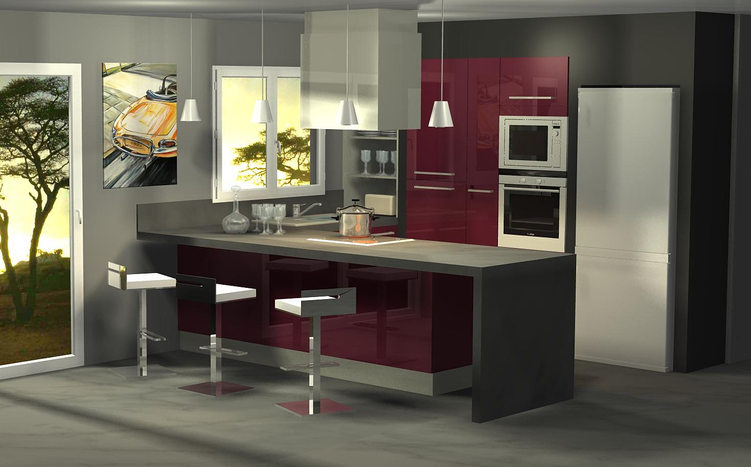 Menuis art cuisine moderne cuisine design dressing vichy for Cuisine aubergine et grise