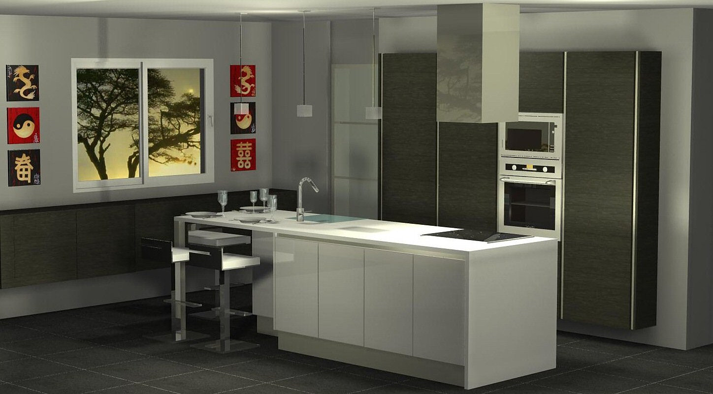Menuis art cuisine moderne cuisine design dressing vichy for Ilot central coin repas