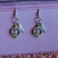Beaded Turtle Feather Dangle Earrings.jp