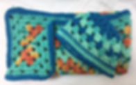Blue Green and Orange Baby Blanket and B