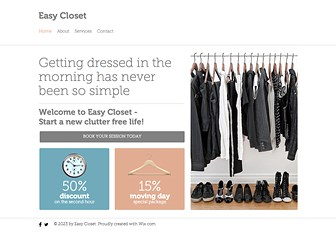 Closet Organizer Template - Clean and simple design is the best way to show your clients how serious you are about a clutter-free life. Advertise specials and packages, book sessions, and detail your services with this easy-to-use, fully customizable template.