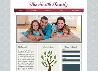 Family Album Template - A customizable template ready to take your family tree online. This is the ideal place to post pictures, share news, and announce upcoming events. Personalize the color scheme and design to represent your style.