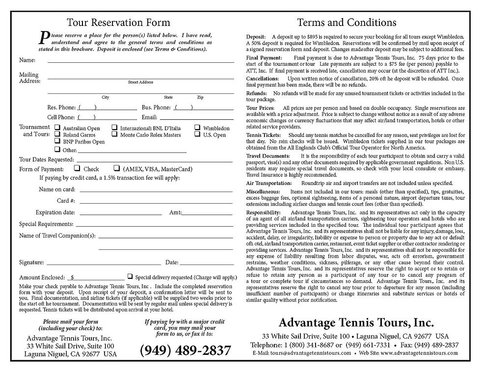 advantagetennis – Tour Reservation Form