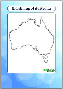 Blank Maps Countries AJ - Blank outline map of australia