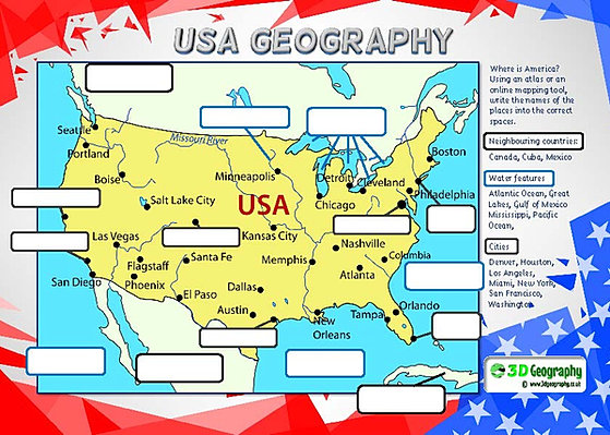 America Geography worksheets – United States Worksheets