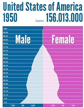 population geography | USA population pyramid 1950