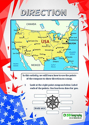 America Geography Worksheets - Usa map with compass