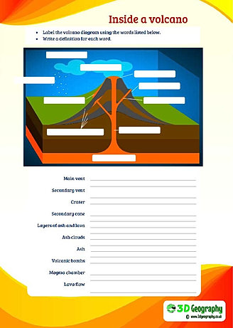 Printables Volcano Worksheets free volcano worksheets for teaching and learning all about volcanoes the parts of a inside label diagram parts
