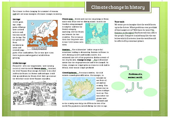 Environment worksheets – Climate Change Worksheet