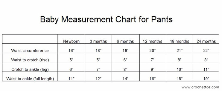 Baby Measurement Chart for Pants Crochet To Z - All things crochet: tutoria...