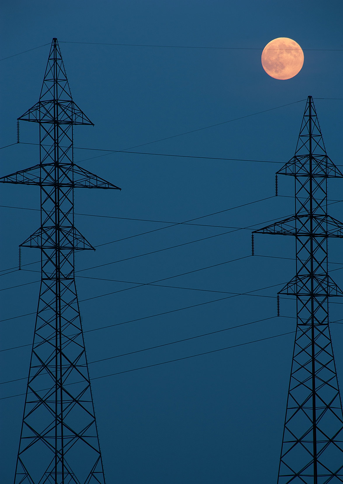 Power Lines With Super Moon
