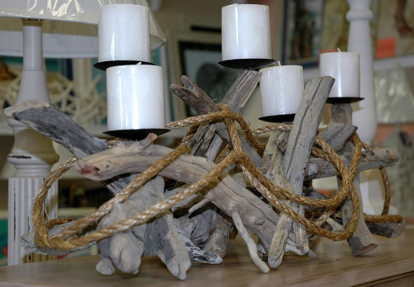Island furniture atlantic beach nc rope and driftwood for Driftwood centerpiece