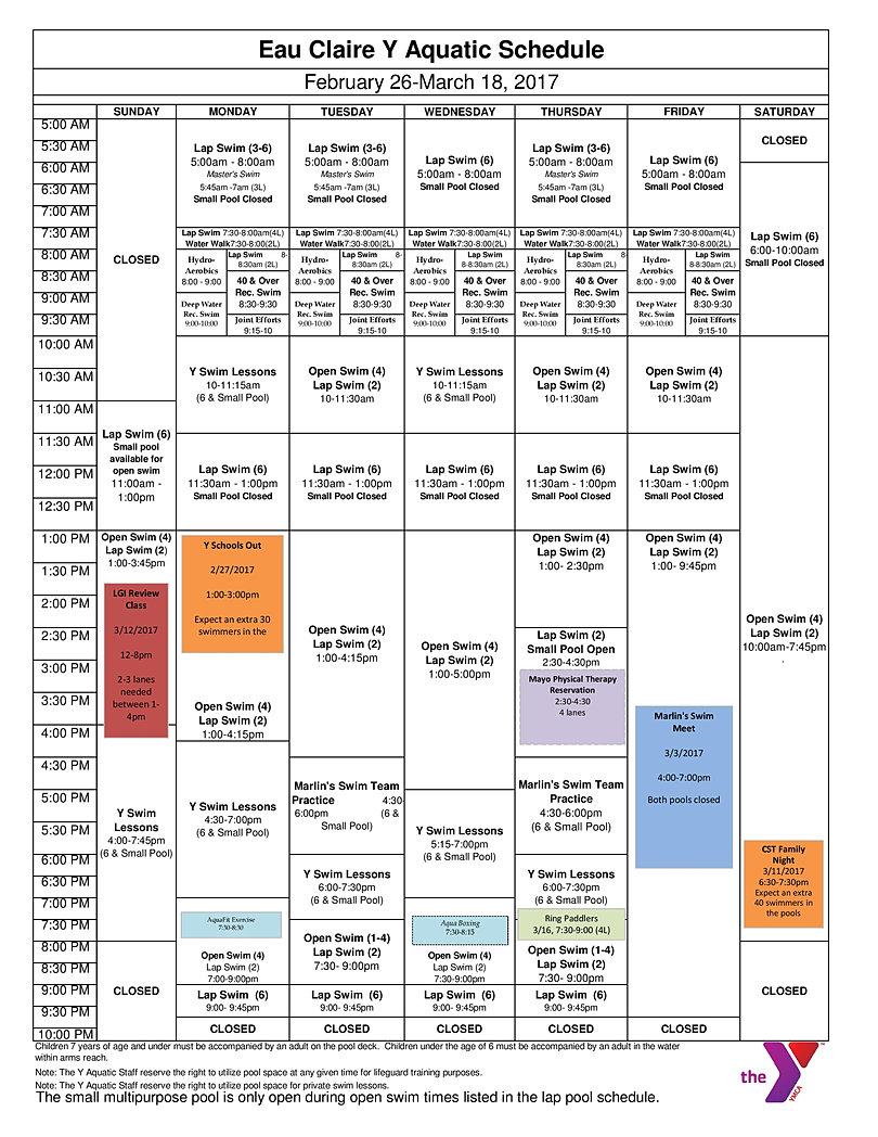 Eau Claire Ymca Pool Schedules
