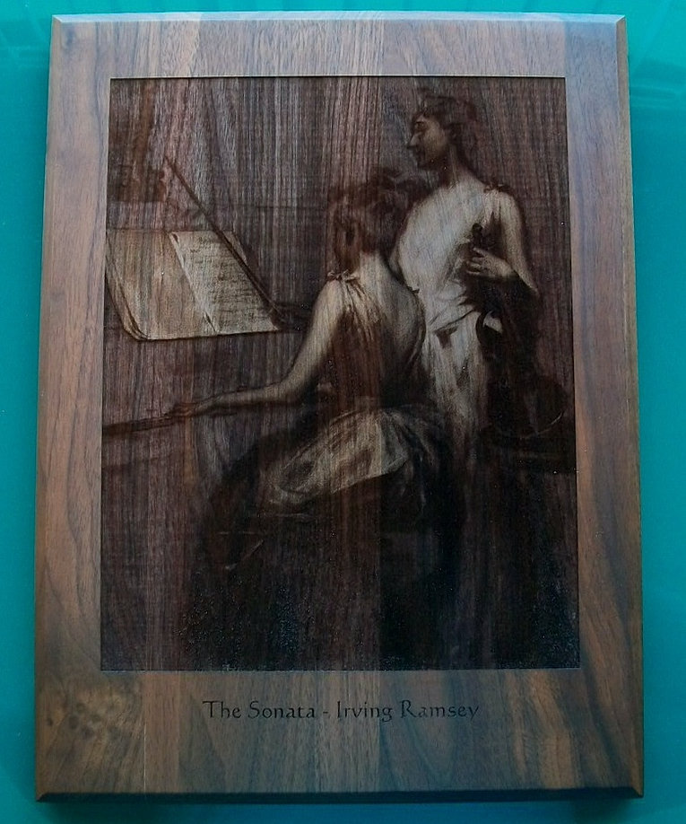 Engraved Picture on to Walnut
