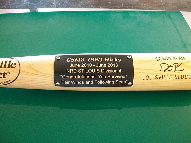 Engraved Plate onto baseball bat