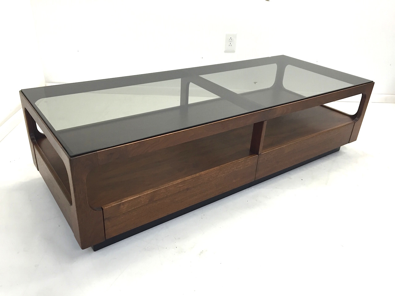 Walnut Smoked Glass Coffee Table By Brown Saltman District Modern 20th Century Furniture