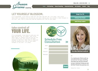 Life Coach Template - A modern, elegant template perfect for coaches, consultants, and counsellors. Add text and photos to advertise your services, introduce team members, and highlight past successes. Design a professional website and watch your business thrive! Use the Blog page to keep your followers up to date on your latest activities.