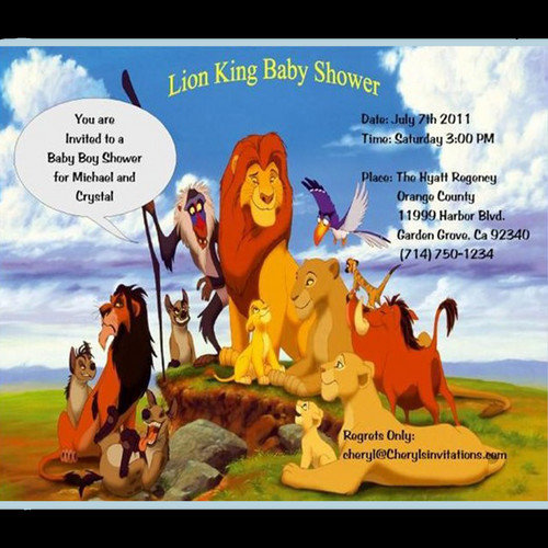 lion king party & shower invitations / unique invitations by cheryl, Baby shower invitations