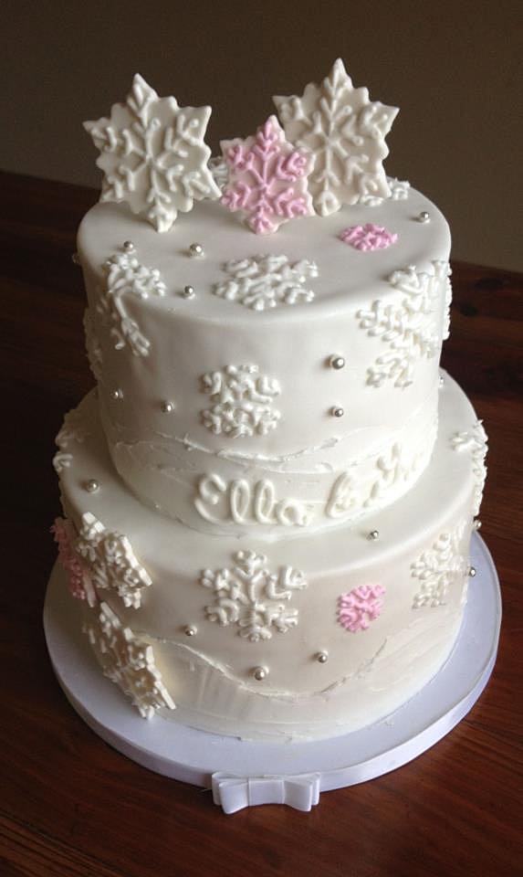 slice winter wonderland baby shower cake