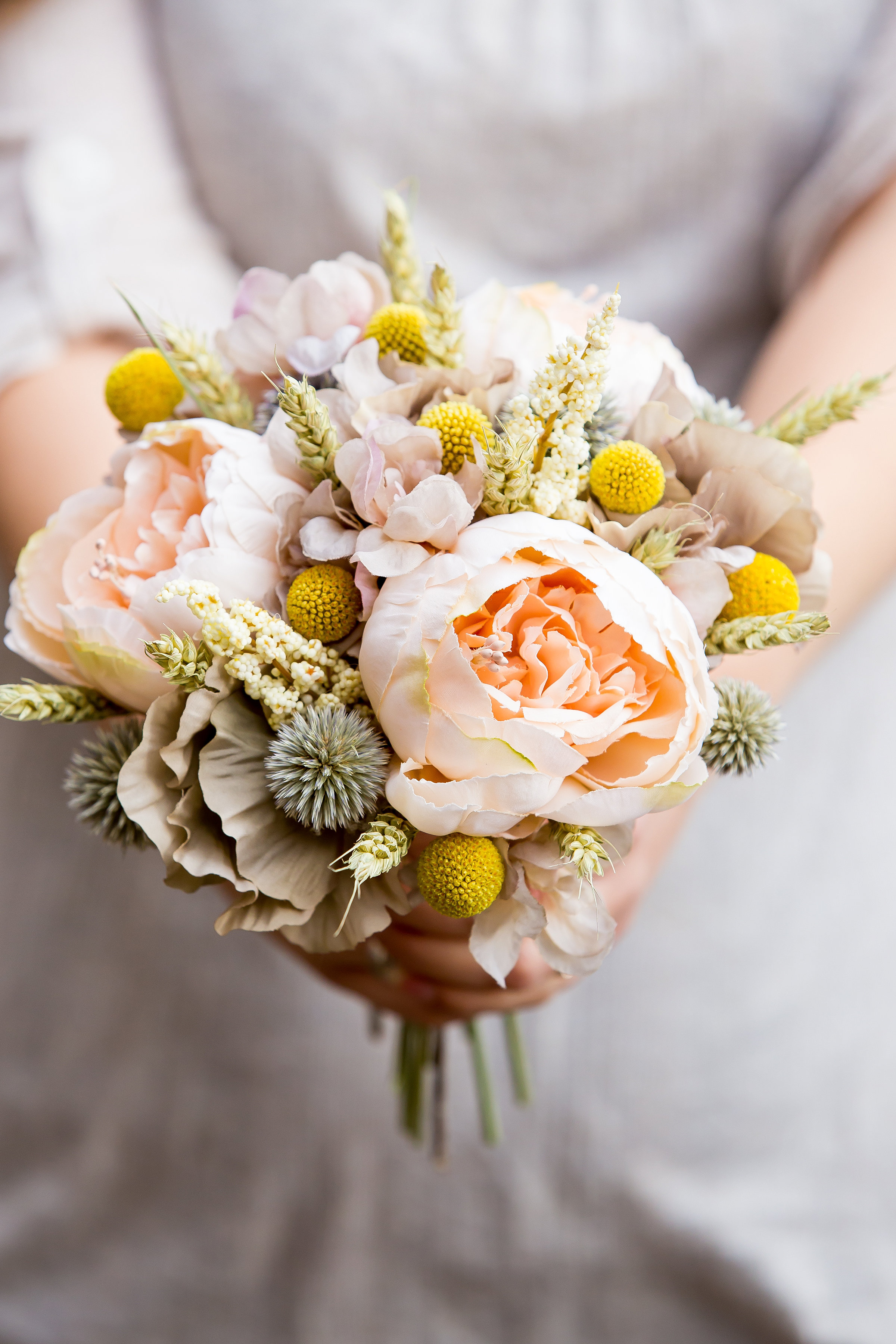 Wedding flowers by pumpkin and pye peach and blush artificial bouquet