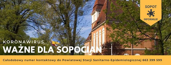 budynek Urzędu Miasta Sopotu z napisem: Koronawirus-ważne dla sopocian
