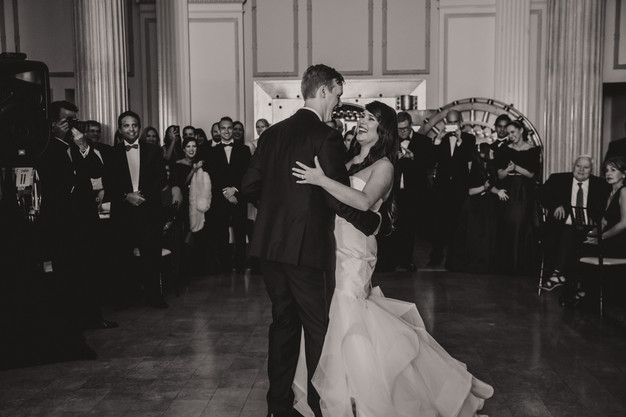 Bride and groom first dance, wedding reception at Treasury on the Plaza, St. Augustine wedding planner
