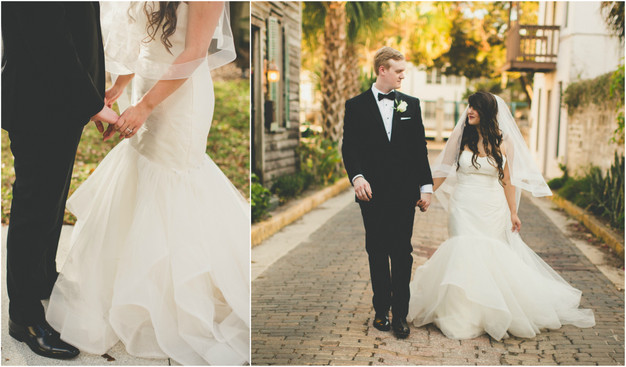 Bride and groom holding hands, St. Augustine wedding planner