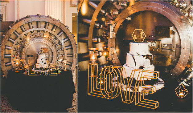 Black and gold cake table, modern wedding cake, wedding reception at Treasury on the Plaza, St. Augustine wedding planner