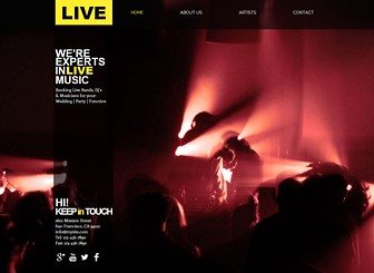 Music Event Production Template - Set your music booking agency apart with this energetic website template. Upload photos and edit text to promote your services and showcase the talent on your books. Customize the color scheme and layout to create a professional website that is as fresh as your talents!