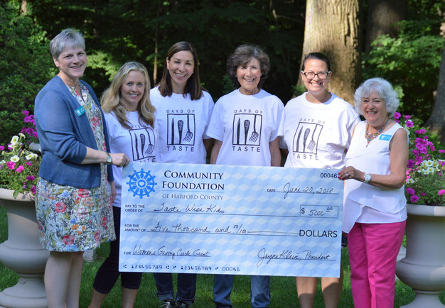 receiving check from the Women's Giving Circle of Harford County