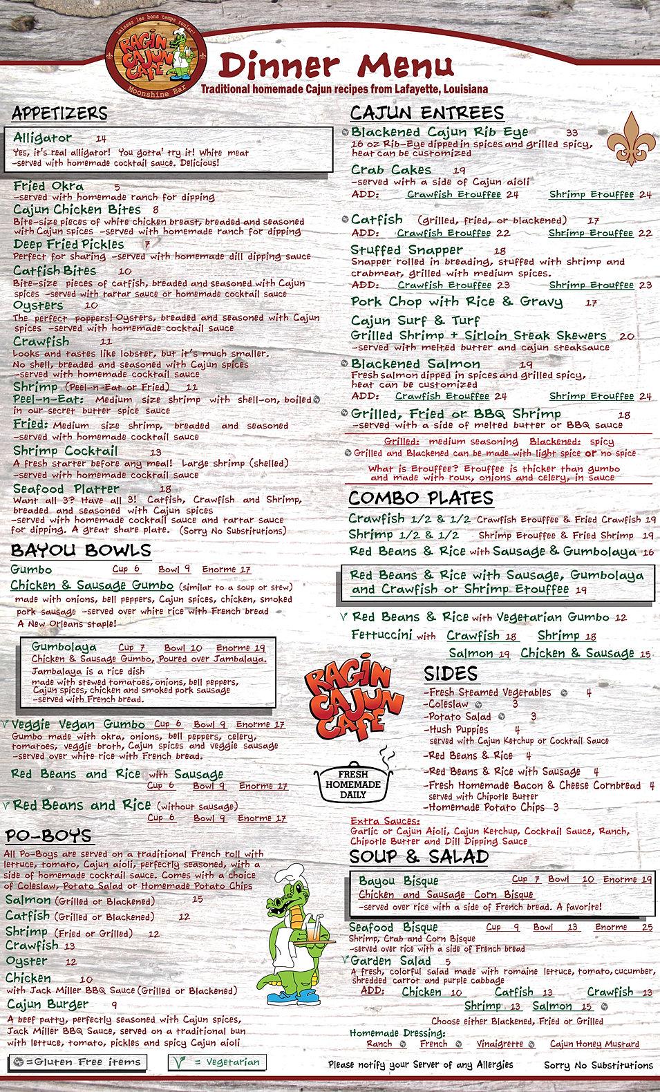 Ragincajun Cafe Menu