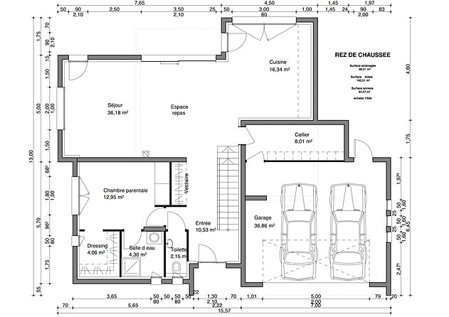 Plan maison double trendy plan maison demi niveau gratuit for Plan maison suite parentale rdc
