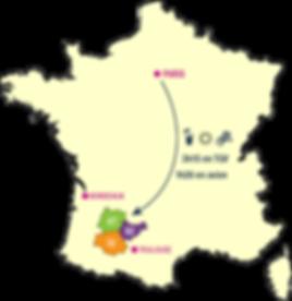 Le Sud-Ouest à 3h de Paris