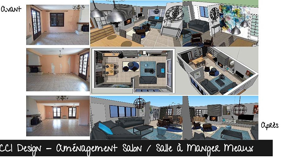 R alisations projets portfolio ccl design for Amenagement salon salle a manger en longueur