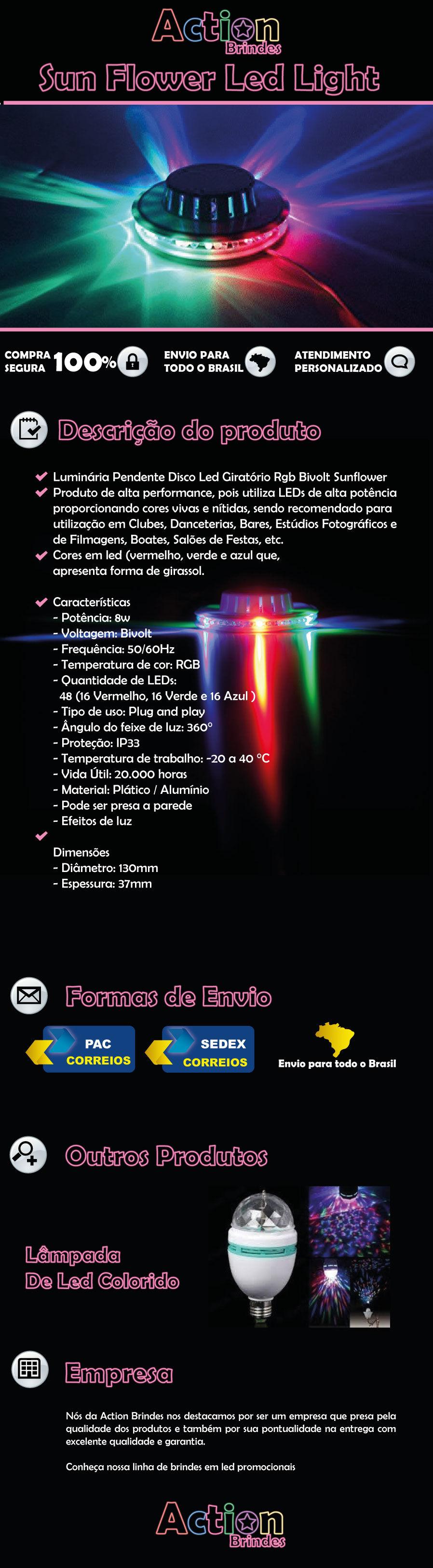 DISCO DE LED ROTATIVO COLORIDO PARA FESTAS