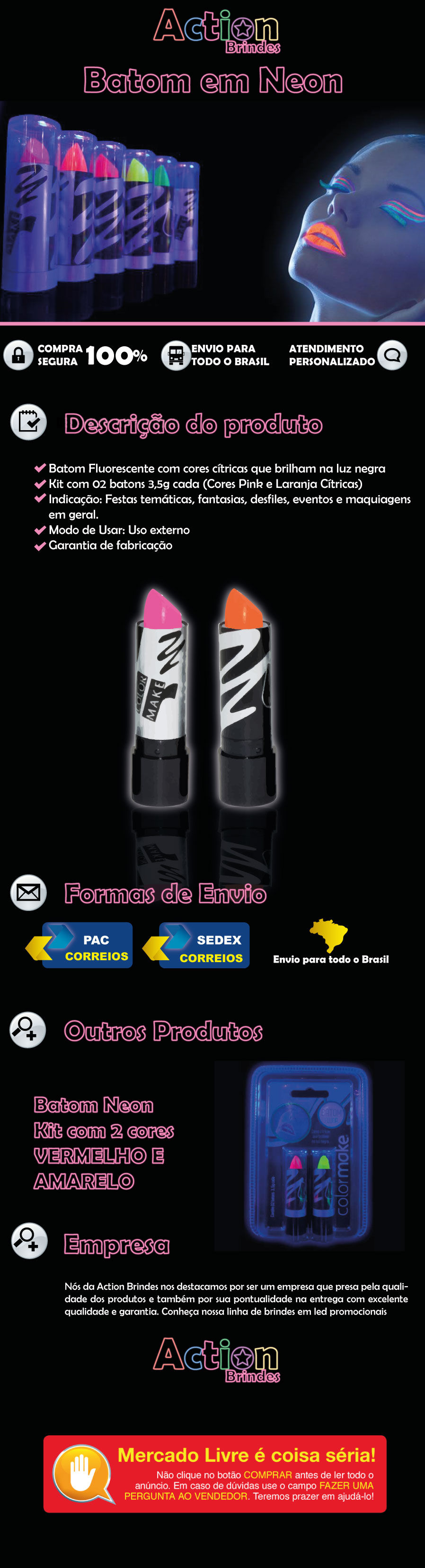 Batom Laranja e Pink Kit 2 Unidades Color Make