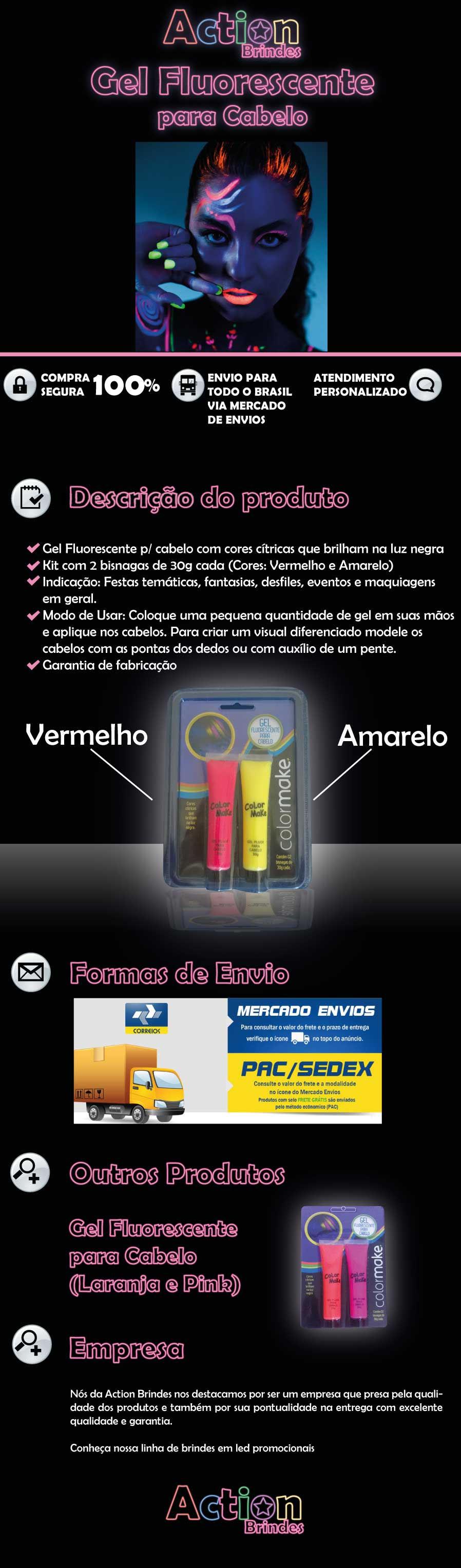 Gel Fluorescente Neon Para Cabelo Kit 2 Unidades Vermelho E Amarelo