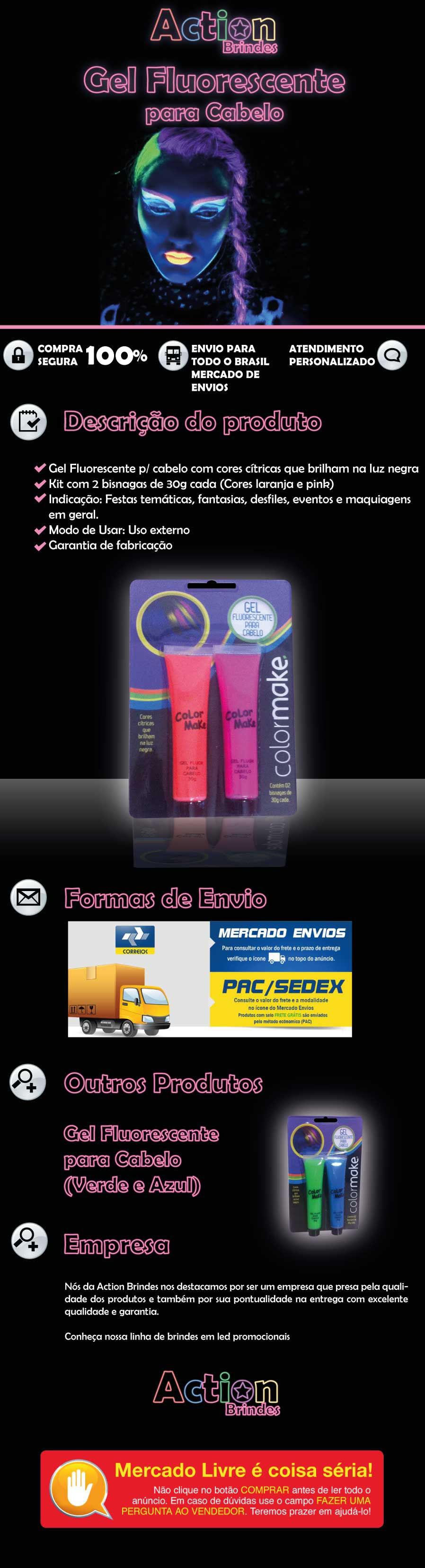 Gel Fluorescente Para Cabelo laranja e pink