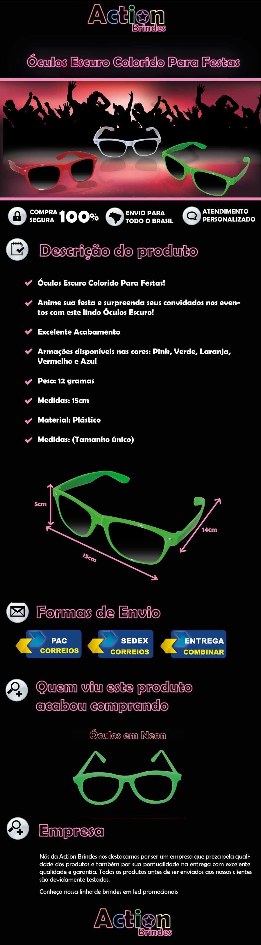 Óculos Escuro Colorido Para Festas